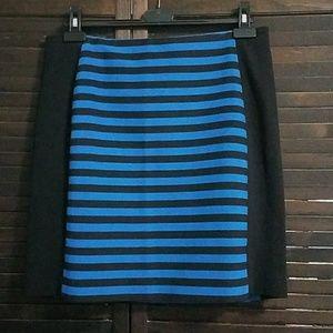 Ann Taylor Black Cobalt Blue Striped Pencil Skirt